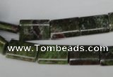 CGR35 15.5 inches 10*14mm flat tube green rain forest stone beads