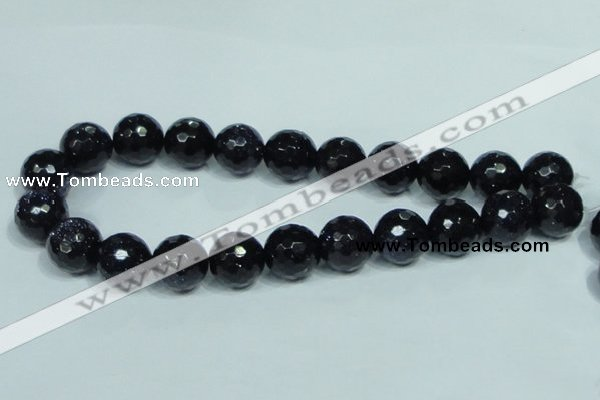 CGS110 15.5 inches 18mm faceted round blue goldstone beads wholesale