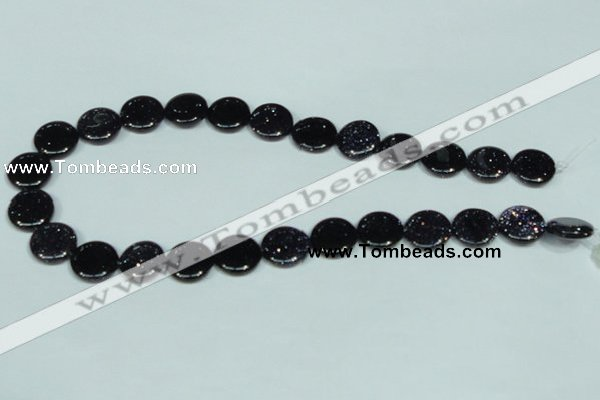 CGS122 15.5 inches 15mm flat round blue goldstone beads wholesale
