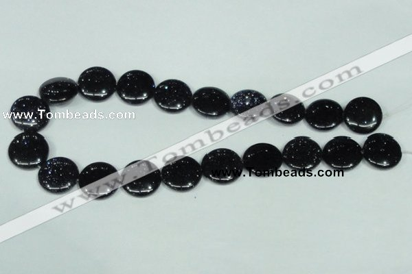 CGS123 15.5 inches 20mm flat round blue goldstone beads wholesale