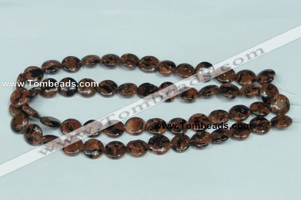 CGS208 15.5 inches 14mm flat round blue & brown goldstone beads wholesale