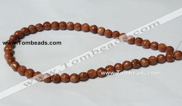 CGS58 15.5 inches 8mm faceted round goldstone beads wholesale