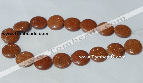 CGS77 15.5 inches 25mm coin goldstone beads wholesale