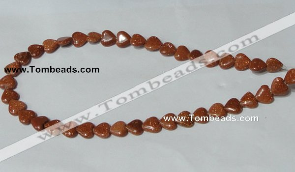 CGS81 15.5 inches 10*10mm heart goldstone beads wholesale