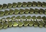 CHE1000 15.5 inches 6*6mm heart plated hematite beads wholesale