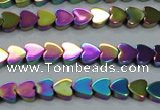 CHE1003 15.5 inches 6*6mm heart plated hematite beads wholesale
