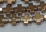 CHE1009 15.5 inches 10*10mm cross plated hematite beads wholesale