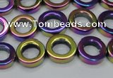 CHE1019 15.5 inches 12mm donut plated hematite beads wholesale