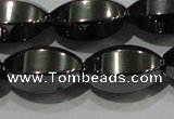 CHE142 15.5 inches 10*16mm faceted rice hematite beads wholesale