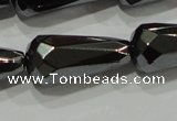 CHE156 15.5 inches 10*20mm faceted teardrop hematite beads