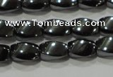 CHE160 15.5 inches 5*8mm twisted rice hematite beads