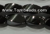 CHE161 15.5 inches 6*12mm twisted rice hematite beads