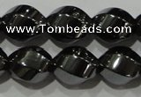 CHE166 15.5 inches 10*12mm twisted rice hematite beads