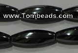 CHE168 15.5 inches 7*20mm faceted & twisted rice hematite beads