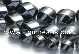 CHE22 16 inches twisted pebble shape hematite beads wholesale