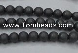 CHE402 15.5 inches 4mm round matte hematite beads wholesale