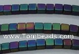 CHE445 15.5 inches 3*3mm cube matte plated hematite beads wholesale