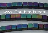CHE613 15.5 inches 2*2mm cube matte plated hematite beads wholesale
