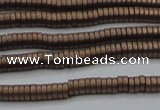 CHE677 15.5 inches 1*3mm tyre matte plated hematite beads