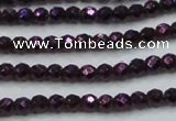 CHE694 15.5 inches 2mm faceted round plated hematite beads