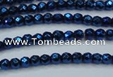 CHE695 15.5 inches 2mm faceted round plated hematite beads