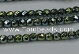 CHE703 15.5 inches 3mm faceted round plated hematite beads
