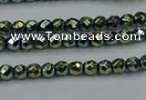 CHE713 15.5 inches 4mm faceted round plated hematite beads