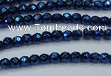 CHE715 15.5 inches 4mm faceted round plated hematite beads