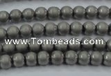 CHE721 15.5 inches 4mm round matte plated hematite beads wholesale