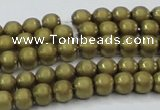 CHE722 15.5 inches 4mm round matte plated hematite beads wholesale