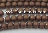 CHE723 15.5 inches 4mm round matte plated hematite beads wholesale