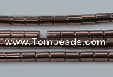 CHE745 15.5 inches 2*4mm tube plated hematite beads wholesale