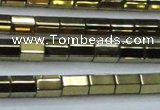 CHE752 15.5 inches 5*8mm faceted tube plated hematite beads