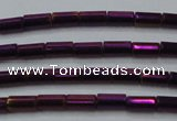 CHE763 15.5 inches 2*4mm tube plated hematite beads wholesale