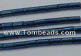 CHE765 15.5 inches 2*4mm tube plated hematite beads wholesale