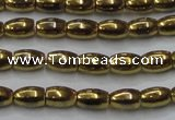 CHE803 15.5 inches 4*6mm rice plated hematite beads wholesale