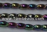 CHE804 15.5 inches 4*6mm rice plated hematite beads wholesale