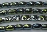 CHE806 15.5 inches 4*6mm rice plated hematite beads wholesale