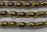 CHE811 15.5 inches 5*8mm rice plated hematite beads wholesale