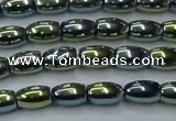 CHE814 15.5 inches 5*8mm rice plated hematite beads wholesale