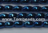 CHE815 15.5 inches 5*8mm rice plated hematite beads wholesale