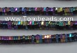CHE830 15.5 inches 1*2mm hexagon plated hematite beads wholesale