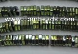 CHE844 15.5 inches 1*4mm hexagon plated hematite beads wholesale