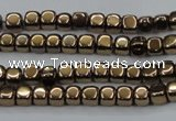 CHE862 15.5 inches 3*3mm dice platedhematite beads wholesale