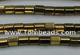 CHE889 15.5 inches 2*2mm faceted tube plated hematite beads wholesale