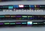CHE901 15.5 inches 3*3mm faceted tube plated hematite beads wholesale