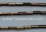 CHE906 15.5 inches 2*4mm faceted tube plated hematite beads wholesale