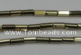 CHE907 15.5 inches 2*4mm faceted tube plated hematite beads wholesale
