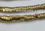 CHE931 15.5 inches 1*2*3mm oval plated hematite beads wholesale