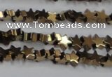 CHE939 15.5 inches 4mm star plated hematite beads wholesale